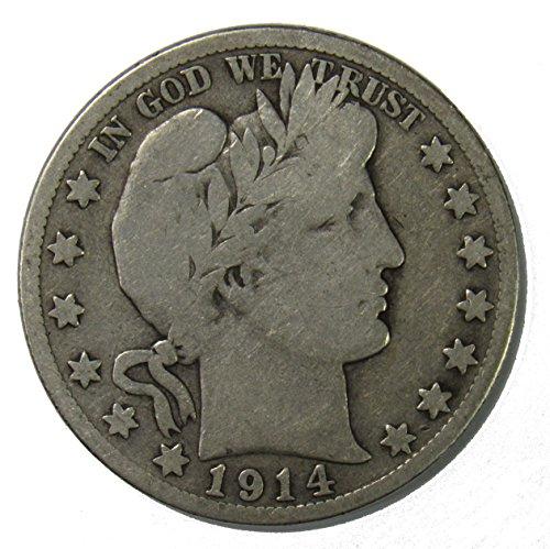 1914 S Silver Barber Half Dollar 50c Very Good