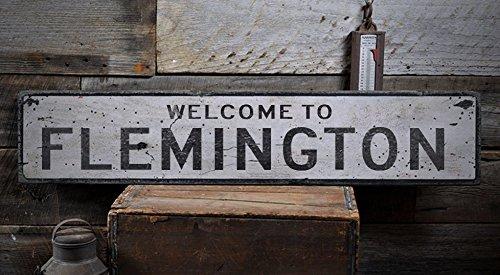 Welcome to FLEMINGTON - Custom FLEMINGTON, WEST VIRGINIA US City, State Distressed Wooden Sign - 5.5 x 24 - Shops Flemington