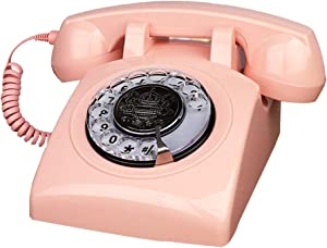 Pink Telephones, TelPal Corded Telephone Classic Rotary Dial Home Phones Antique Vintage Phone of 1930s Old Fashion Business Telephone Home Office Decors