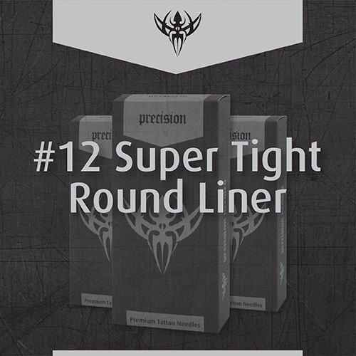 Precision Needles - Box of 50 Premade Sterilized Tattoo Needles - #12 Standard, 3-Super Tight Round Liner