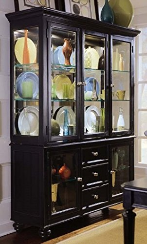 Camden Dark China Cabinet in Black Finish (American Drew Camden Wood)
