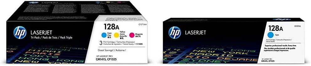 HP 128A | CE321A, CE322A, CE323A | 3 Toner Cartridges | Cyan, Yellow, Magenta & 128A | CE321A | Toner Cartridge | Cyan