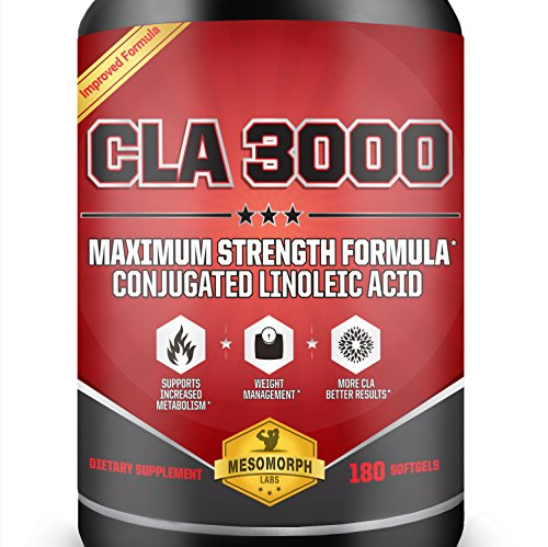 CLA 3000 Maximum Potency | 180 Softgels 3000mg CLA Per Serving, 6000mg Daily | Non-GMO Conjugated Linoleic Acid In Safflower CLA Weight Loss Supplements | 100% Money Back Guarantee | Made in the USA