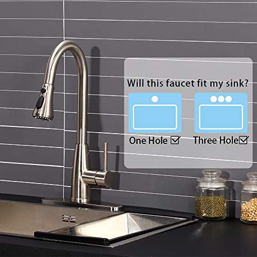 Achiotely Pull Down Sprayer Kitchen Faucet, Brushed Nickel Design kitchen Sink Faucet, Easy Installation