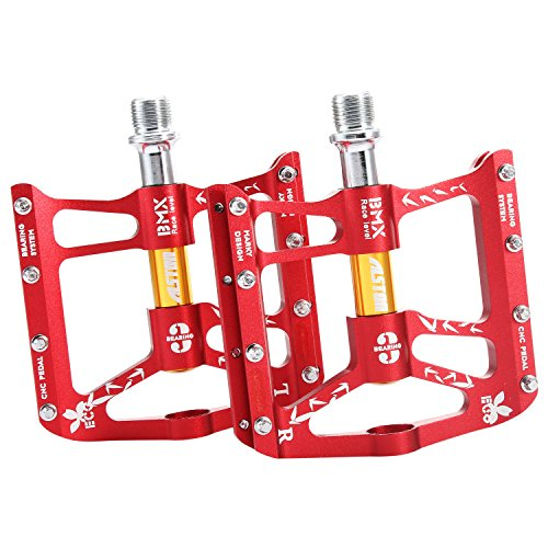 (Alston Mountain Bike Pedal, 6061# CNC Aluminum Red Body,Strong CR-MO 9/16