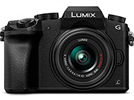 PANASONIC LUMIX G7 4K Mirrorless Camera, with 14-42mm MEGA O.I.S. Lens, 16 Megapixels, 3 Inch Touch LCD, DMC-G7KK (USA BLACK)
