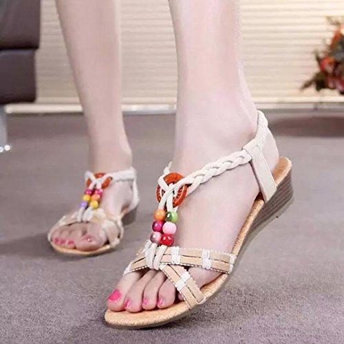 Show Toe ShoesElaco Summer Women Bohemia Flat Shoes Beach Sandals