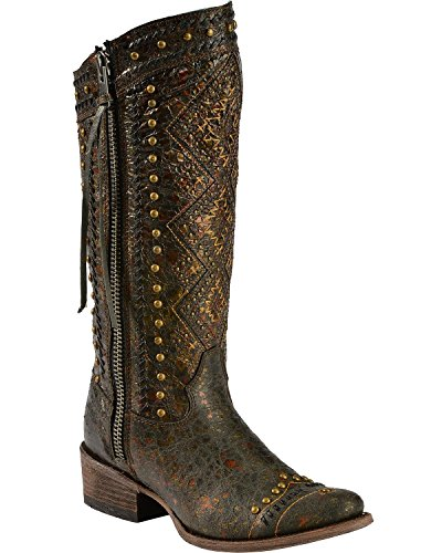 Corral Women's Distressed Aztec Studded Cowgirl Boot Round Toe Brown 8.5 M US
