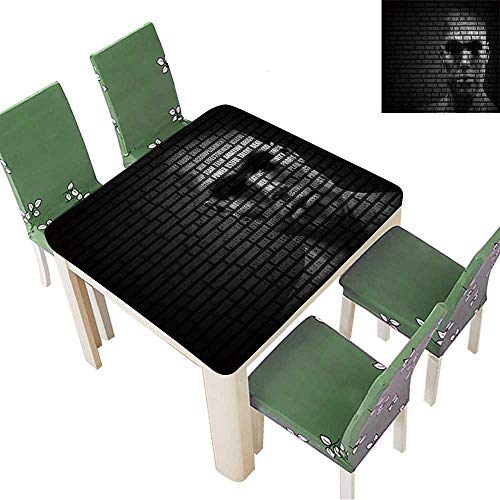 Polyester Table Cloth Man face Blended with Flowing List of Motivational Words Concept of self Motivation Table 52 x 52 Inch (Elastic Edge)