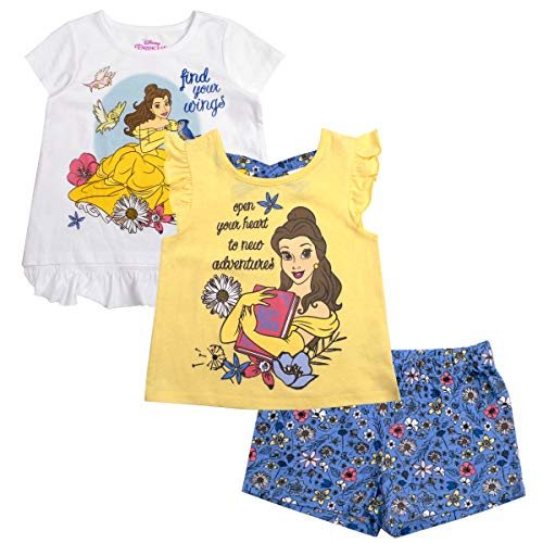 Disney Girls 3PC Shirts and Short Set: Wide Variety Includes Minnie, Frozen, and ()
