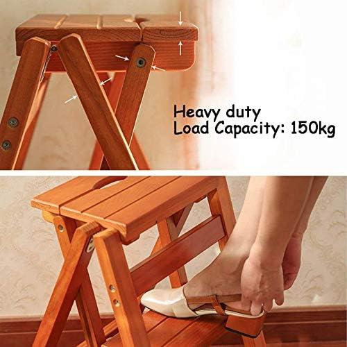 YAHAO Tabouret/échelle De Chaise Pliant à 3 Bandes De Roulement, Chaise D'escalier De Ménage en Bois Sécurité Escabeau Antidérapant Tabouret Haut Outil De Jardin