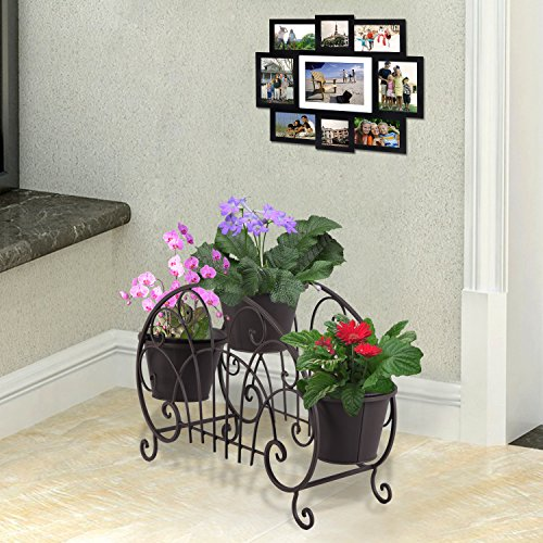 Homebeez 3-Tiered Scroll Classic Plant Stand Decorative Metal Garden Patio Flower Pot Rack Display Shelf Holds 3-Flower Pot with Modern Design (brown 3 tired) For Sale
