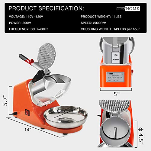 VIVOHOME Electric Ice Crusher Shaver Snow Cone Maker Machine Orange 143lbs/hr for Home and Commerical Use by VIVOHOME (Image #5)