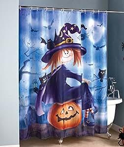 Amazon.com: Halloween Witch Sitting on Pumpkin Bathroom