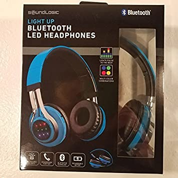 SOUNDLOGIC inalámbrico Bluetooth LED Auriculares Azul: Amazon.es: Electrónica