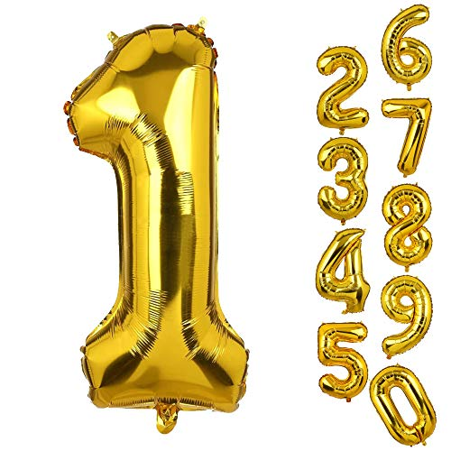 Big Number 1 Balloons Gold Mylar Foil Helium Balloons First Birthday Party Decorations for - Number One Mylar Balloon