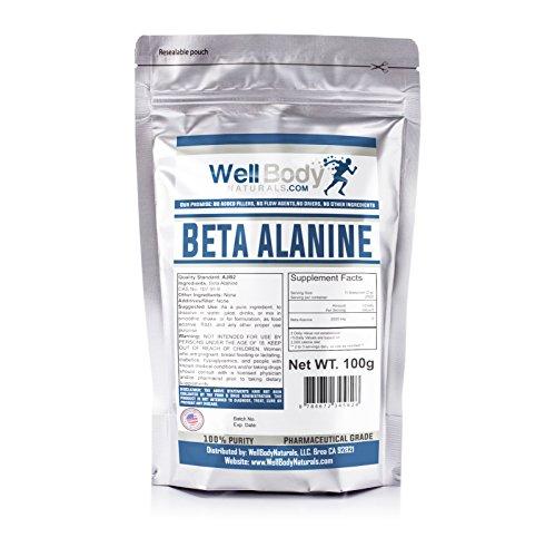 WellBodyNaturals 100% Pure Beta Alanine Powder ( 100 grams ) For Sale