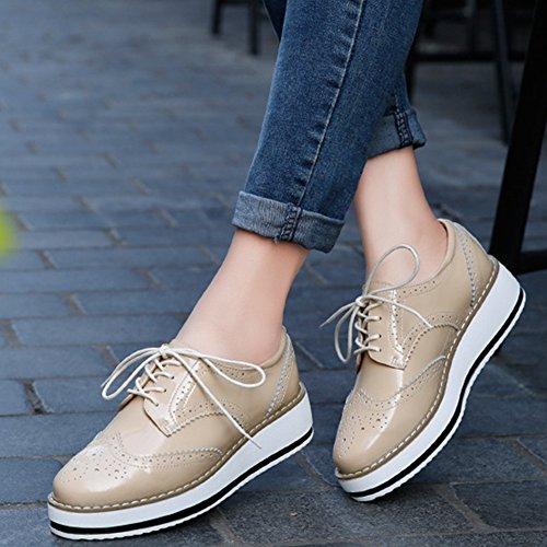 03565bf06bac2 YING LAN Women's Platform Lace-Up Wingtips Square Toe Oxfords Shoe Apricot