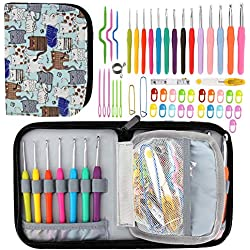 Winkeyes 39 Pcs Ergonomic CrochetHooks Best CrochetHookSet with Soft Handles for Extreme Comfort. Perfect Knitting Accessories for Arthritic Hands, Smooth Knitting Needles for Superior Results