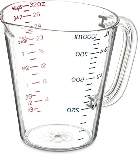 Carlisle 4314307 Commercial Plastic Measuring Cup, 1 Quart, ()