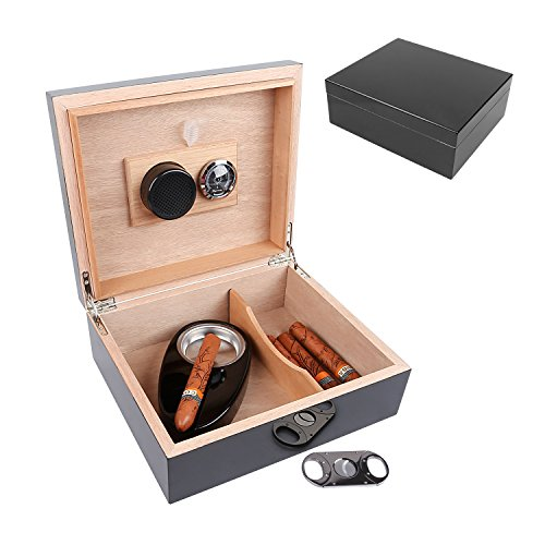 Woodronic Cigar Humidor Set, Black Lacquer High Gloss with Spanish Cedar Wood Lined/Divider for 25-50 Cigars, with Stainless Steel Astray, Cigar Cutter, Hygrometer and Humidifier