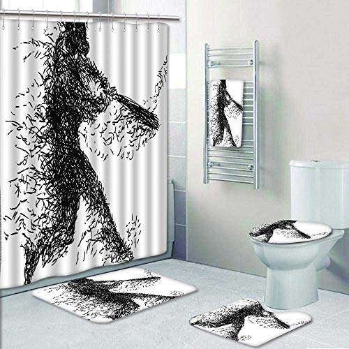 5-Piece Bathroom Set-White Abstract Artistic Illustration of a Baseball Player Posing Grunge Sports Black White Prints Decorate The Bath,1-Shower Curtain,3-Mats,1-Bath Towel