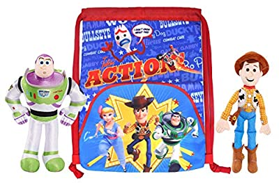 "Disney 10"" Woody & Buzz Lightyear Plush Figures with Toy Story 4 Sling Tote Bag"
