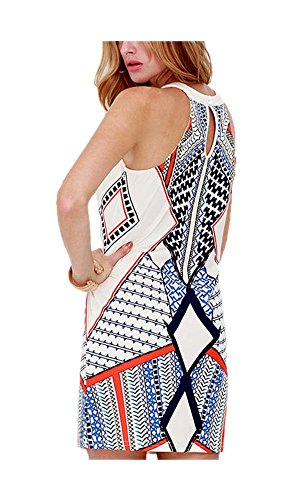 Women's Mini Sleeveless ARJOSA Casual Prints Dress Geometric Bodycon Party SqwfRPw