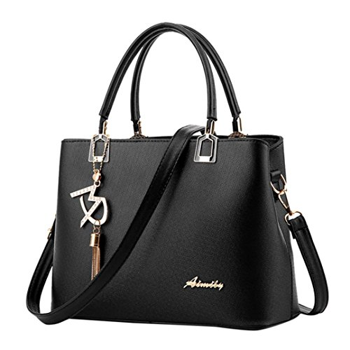 Sunyastor Hot Sale! Sunyastor Womens Fashion Women Leather Crossbody Bag Shoulder Bag Messenger Tote Bag Hangbag Purses Designer Satchel with Pendant (Black, one Size) (Leather Summer Signature Handbag)