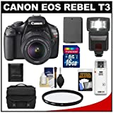 Canon EOS Rebel T3 12.2 MP Digital SLR Camera Body and EF-S 18-55mm IS II Lens with 16GB Card + Battery + Case + Filter + Flash + Cleaning and Accessory Kit, Best Gadgets