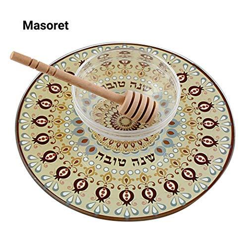 MASORET Rosh Hashana Glass Honey Dish Set 5: 3-Piece Jewish Clear Container Bowl Jar with Lid and Teaspoon plus Mini Tehillim - Dish Set Honey