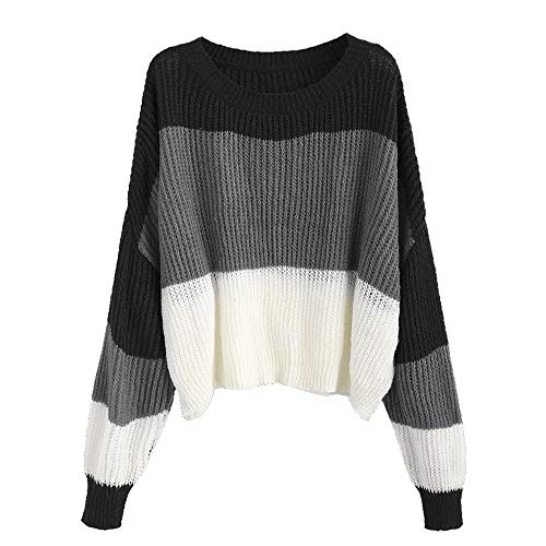 ZAFUL Women's Striped Sweater Crew Neck Color Block Oversized Knit Pullover Jumper Tops