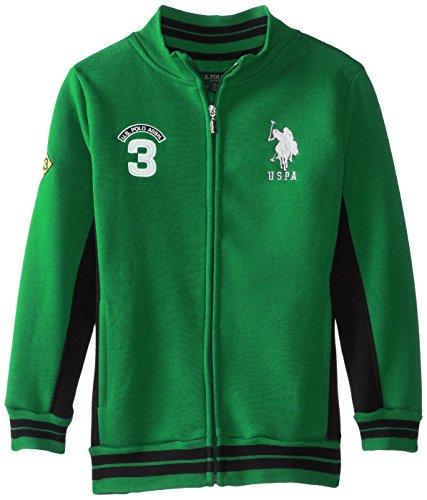 Polo Neck Zip Jacket - U.S. Polo Assn. Big Boys' Fleece Mock Neck Jacket with Striped Ribbing, Absolute Green, 14/16