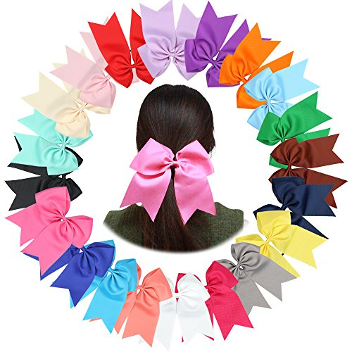 20Piece 7.5 Inches Baby Girls Large Cheer Bows Ponytail Holder Elastic Hair Tie