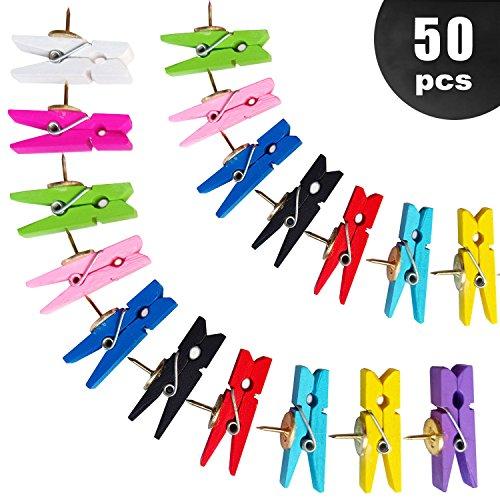 Toosunny 50 Pcs Push Pins with Colored Natural Wooden Clips Pushpins Tacks Thumbtacks for Cork Boards,10 Colors ()