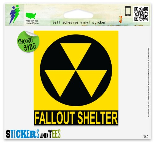"""Price comparison product image Nuclear Fallout Shelter Sign Car Sticker Indoor Outdoor 5"""" x 4"""""""