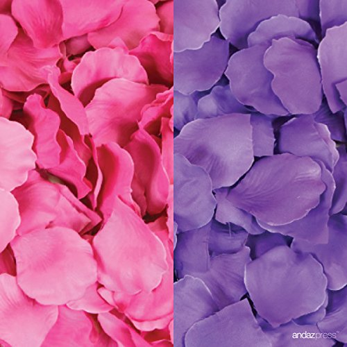 Andaz Press Silk Fabric Rose Petals Table Decorations, Fuchsia Hot Pink, Purple, 400-Pack, Colored Quinceanera Sweet 15 16 Birthday Wedding Baby Bridal Shower Party (Sweet 16 Purple Decorations)
