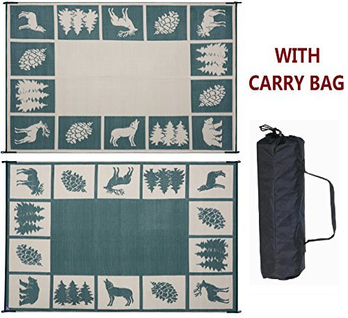 Reversible Mats 226094 Green/Beige 6' x 9' (RV Outdoor Camping Patio Wilderness Hunter)