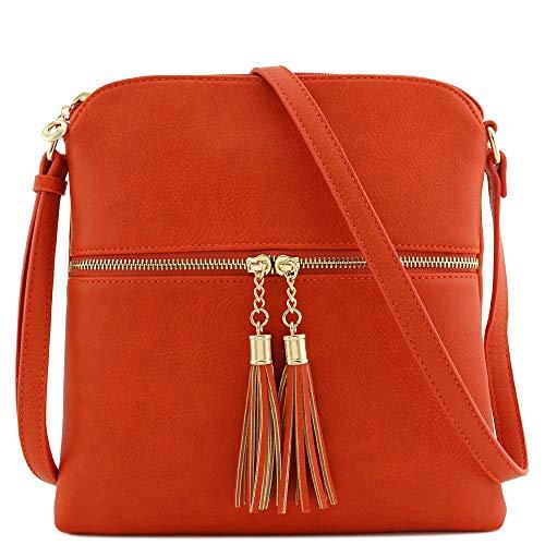 Tassel Zip Pocket Crossbody Bag (Burnt Orange)