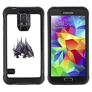 "Pulsar iFace Series Tpu silicona Carcasa Funda Case para Samsung Galaxy S5 V , White Dragon Fairytale Monstruo Negro"""