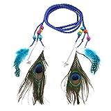 Vcenty Womens Bohemian Belt Peacock Feather Fringe Tassel Thin Braided Waist Belt (Blue)