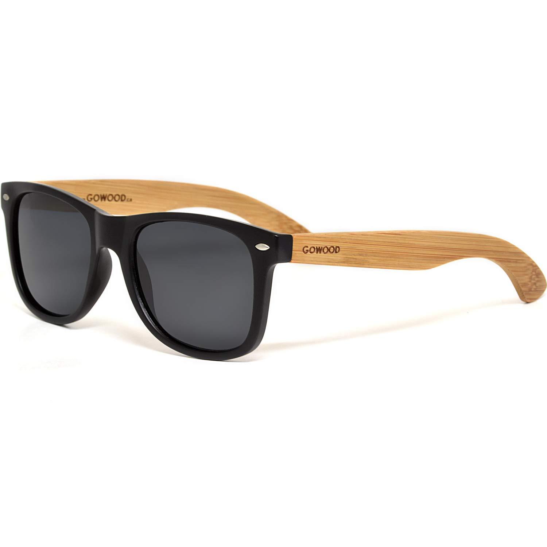 GOWOOD Gafas de sol de madera de bamb/ú para hombre y mujer con frontal negro mate y lentes polarizadas