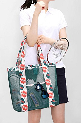 for 7'' Lightweight Green Tote Bag 77''x13 Women Beach Bag 77''x4 Mesh Large 13 Shoulder Organizer Youkara ST6qzT