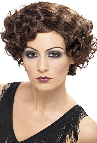 Smiffy's Women's Short and Wavy Brown Wig, 20's Flirty Flapper Wig, One Size, 42004 (Wig Brown Flapper)