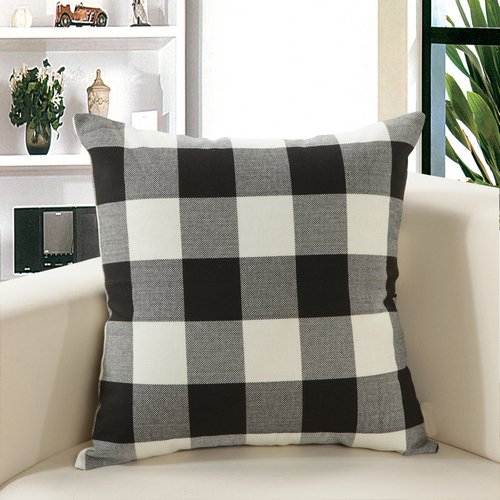 MochoHome Linen Plaid Checkered Square Throw Pillow, Decorative Toss Pillow - 18