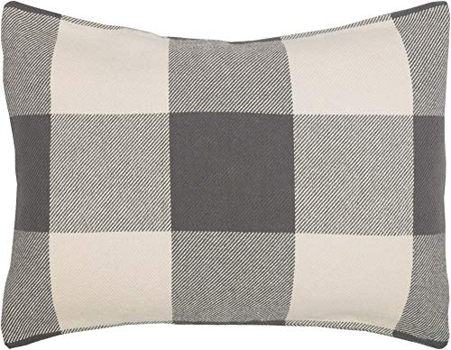 Piper Classics Carter Gray Standard Pillow Sham, 21x27, Modern Rustic Farmhouse Woven Bedding, Dark Gray Check Pillow Cover ()