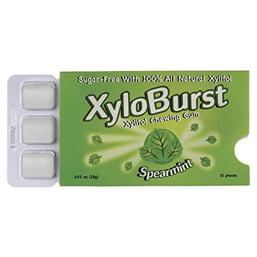 Xyloburst Blister Pack Xylitol Gum, Spearmint, 12 Count (Blister Xylitol Pack)