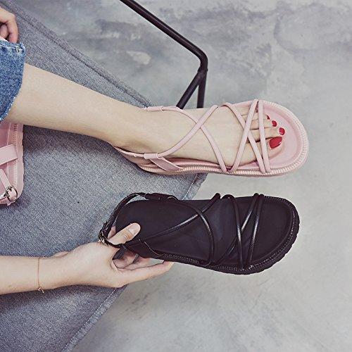 antiscivolo semplice scarpe moda estate da black con spiaggia fondo YMFIE da scarpe piatto Onorevoli punta 4qRtxwqpI