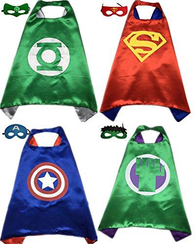 [4 Pack Superhero or Princess CAPE & MASK SETS Kids Childrens Halloween Costumes (Green Lantern Red Superman Captain America Incredible] (Incredible Hulk Costume For Women)