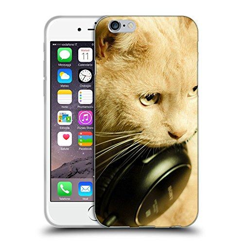 """Just Phone Cases Coque de Protection TPU Silicone Case pour // V00004189 rougechat avec un casque noir // Apple iPhone 6 4.7"""""""